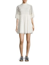 Mcq By Alexander Mcqueen Smocked Ruffle Mini Dress Ivory