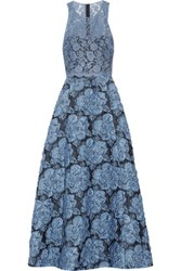 Badgley Mischka Lace And Cloqu And Eacute Top And Skirt Set Blue