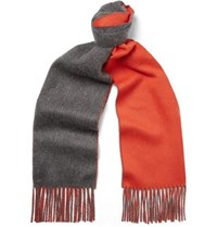 Johnstons Of Elgin Reversible Fringed Cashmere Scarf Gray