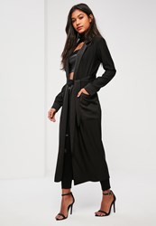 Missguided Black Satin Pocket Detail Duster Coat
