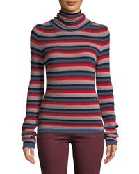 Mih Jeans Moonie Striped Merino Wool Turtleneck Sweater Multi Pattern