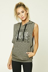 Forever 21 Active Move Sleeveless Hoodie Charcoal Black