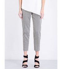 St John Tribal Slim Fit Cropped Metallic Jacquard Trousers Caviar Multi