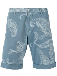 Etro Paisley Print Bermuda Shorts Men Cotton Spandex Elastane 56 Blue
