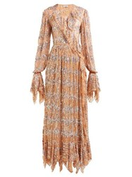 Ashish Sequin Embroidered Ruffled Wrap Dress Beige Multi