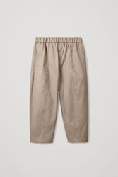 Cos Elasticated Organic Cotton Trousers Brown