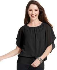 Style And Co. Flutter Sleeve Banded Hem Top Deep Black