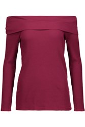 Splendid Off The Shoulder Supima Cotton And Micro Modal Blend Top Plum