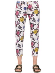 House Of Holland Rose Printed Straight Cotton Denim Jeans