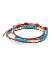 Chan Luu Pearl Turquoise And Amazonite Leather Wrap Bracelet Turquoise Brown