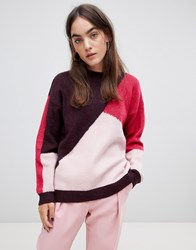 B.Young Panelled Jumper Beetroot Combi Multi