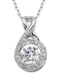 Giani Bernini Fluttering Cubic Zirconia Infinity Pendant Necklace In Sterling Silver
