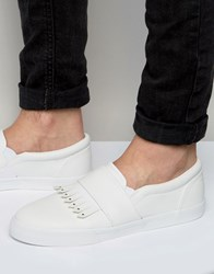 Asos Slip On Plimsolls In White With Fringe And Studs White