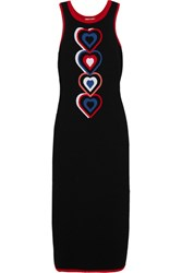 Fendi Heart Intarsia Knitted Midi Dress Black