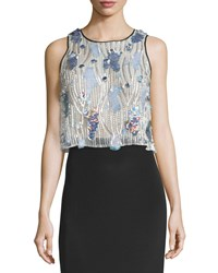 Monique Lhuillier Embroidered Piping Shell Opal Multi