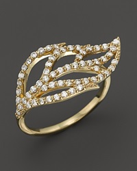 Kc Designs Diamond Leaf Ring In 14K Yellow Gold