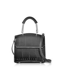 Alexander Wang Handbags Black Oversized Embossed Croco Leather Dime Mini Flap Satchel