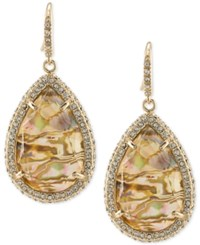 Abs By Allen Schwartz Gold Tone Pave And Abalone Stone Drop Earrings Multi