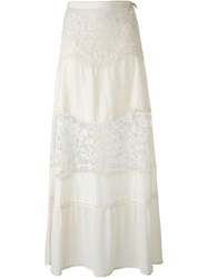 Twin Set Lace Panel Maxi Skirt Nude And Neutrals