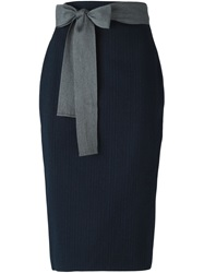 Sofie D'hoore Waist Tie Pinstripe Pencil Skirt Blue
