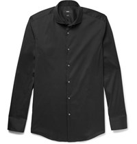 Hugo Boss Black Jason Slim Fit Cutaway Collar Stretch Cotton Blend Shirt Black