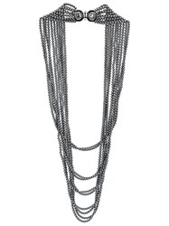 Oscar De La Renta Multi Strand Pearl Necklace Grey