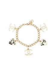 Chanel Pre Owned Logo Charms Bracelet Gold