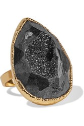 Dara Ettinger Gold Plated Stone Ring Black