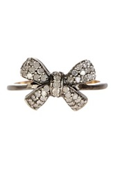 18K Gold And Silver Pave Diamond Bow Ring 4.43 Ctw Metallic