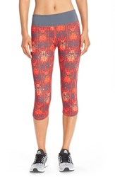 Women's Zella 'Run The Run' Print Capri Leggings Red Blaze Run Geo Print