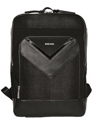 Diesel Treated Denim And Faux Leather Backpack