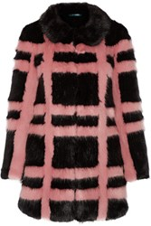 Shrimps Edith Checked Faux Fur Coat Pink