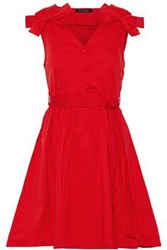 W118 By Walter Baker Lauren Bow Embellished Pleated Cotton Poplin Mini Dress Red