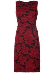 Oscar De La Renta Floral Brocade Dress Silk Nylon Polyester Red
