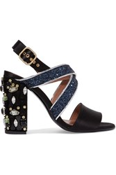 Marni Leather Trimmed Embellished Satin Sandals Black