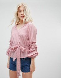 Influence Tie Waist Stripe Top With Balloon Sleeves Red Stripe