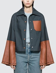 Loewe Button Jacket With Leather Cuffs Blue