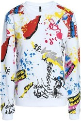 Versus By Versace Flocked Printed French Cotton Terry Sweatshirt White