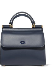 Dolce And Gabbana Sicily Small Textured Leather Tote Navy