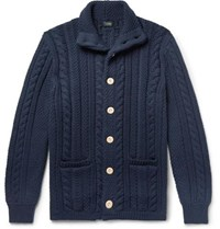 J.Crew Cable Knit Cotton Cardigan Navy