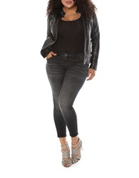 Slink Jeans Plus Moto Zip Leather Jacket Black