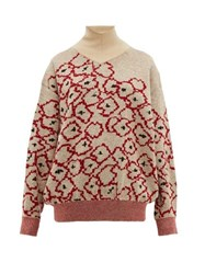 Toga Floral Jacquard Mohair Blend Sweater Red Multi