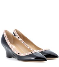 Valentino Rockstud Patent Leather Wedges Black