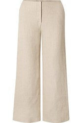 Rosie Assoulin Cropped Hemp Wide Leg Pants Beige