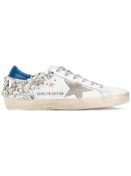 Golden Goose Deluxe Brand Crystal Embellished 'Superstar' Sneakers White