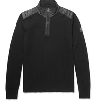 Belstaff Kilmington Quilted Shell Trimmed Merino Wool Half Zip Sweater Black
