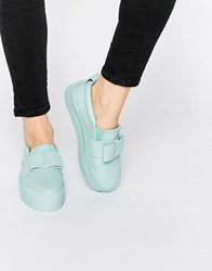 Asos Dark Moon Drenched Flatform Trainers Mint Green