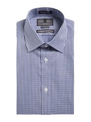 Black Brown Non Iron Slim Fit Embroidered Check Dress Shirt Horizon Blue