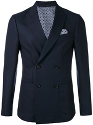 Z Zegna Pointed Lapels Double Breasted Blazer Men Cotton Cupro Wool 48 Blue