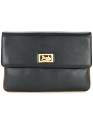 Celine Vintage Horse Carriage Logo Clutch Bag Black